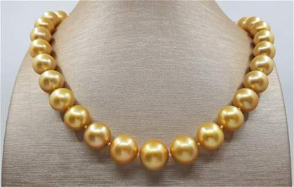 Large 12x14,7mm 24K Golden Saturation South Sea Pearls
