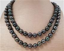 9x11mm Black Tahitian Pearls - 925 Silver - Necklace