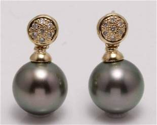 14 kt. Yellow Gold - 10x11mm Round Tahitian Pearls -