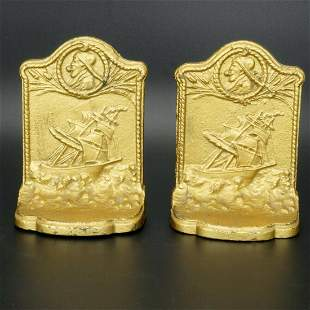 Ship and Mariner Bookends Bradley/ Hubbard c 1925
