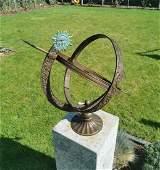Bronze Sundial - Garden sculpture - Sun and moon