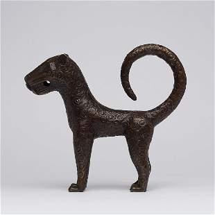 African bronze - Benin Leopard Sculpture - Edo -