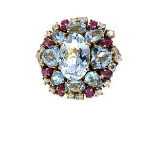 Vintage 18k Gold Aquamarine, Diamonds & Rubies Ring