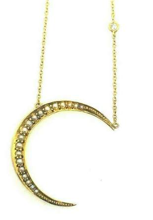 Victorian 14K Yellow Gold Fresh Seed Pearl Crescent