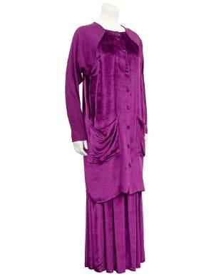 Jean Paul Gaultier Fuschia Velvet and Wool Jersey