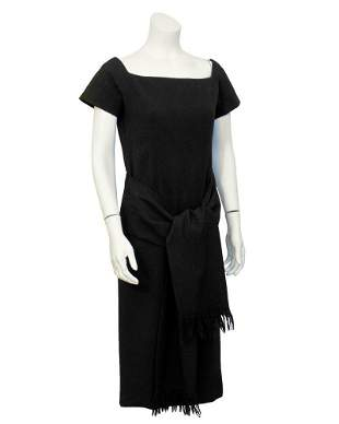 Christian Dior Black short sleeve dress with tie