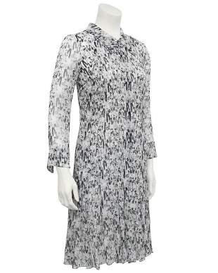 Chanel White & Black Chiffon Shirtdress;