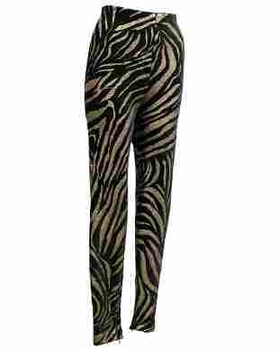 Versace Black and Gold Tiger Stripe Leggings