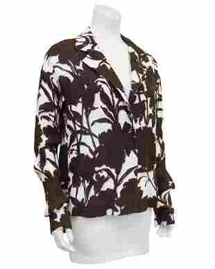 Prada Brown and Cream Floral Linen Jacket