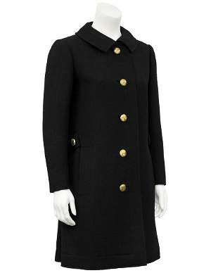Lanvin Black Wool 3/4 Coat