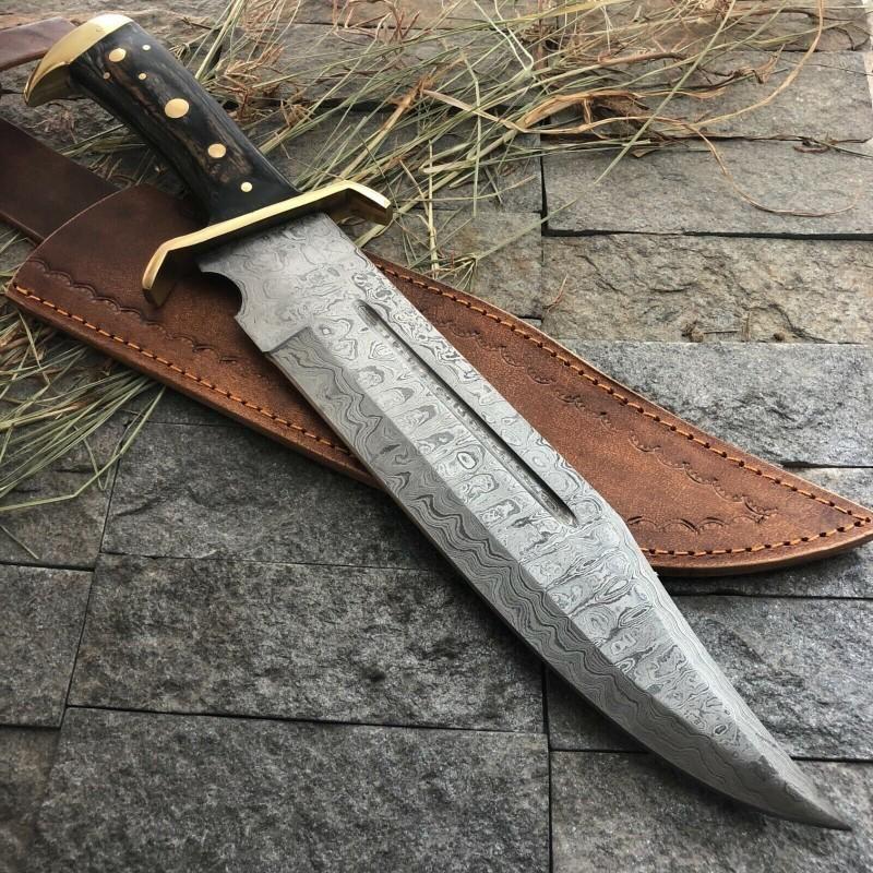 Bowie damascus steel knife survival wood brass pommel