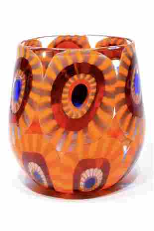 "Murano glass goblet "" goto "" with murrine signed"