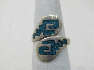 Vintage Sterling Silver Inlaid Turquoise Ring, Bypass,