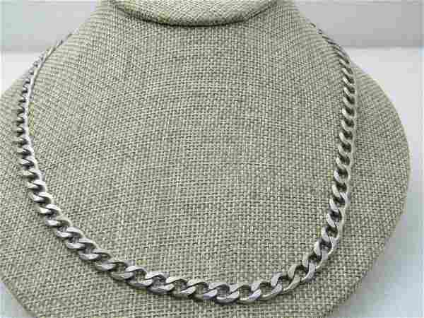 Vintage Sterling Silver Heavy Curb Link Necklace,