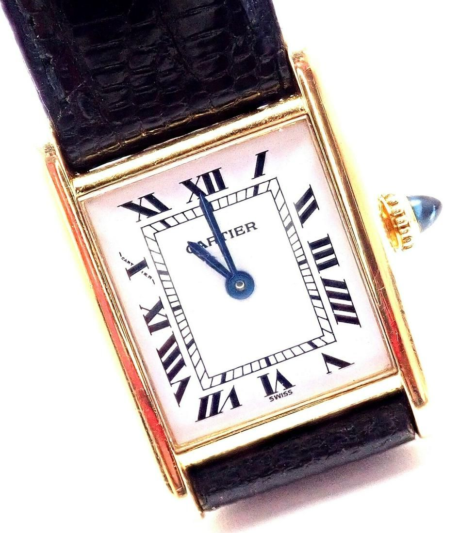 Authentic! Cartier Tank 18k Yellow Gold Manual Wind