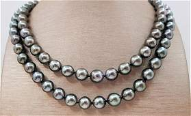 8x11mm Round Peacock Tahitian pearls - Necklace