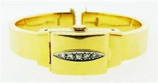 RARE Rolex 18k Yellow Gold & Diamond Bangle/Watch Circa