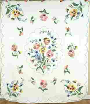 Vintage Pansy Applique Quilt