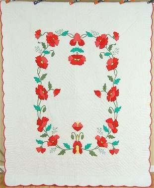 40's Poppy Quilt, Unusual Stuffed Applique