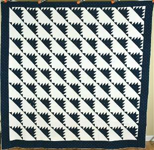 1840's Indigo Blue & White Delectable Mountain Quilt