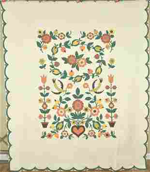 40's Applique Quilt with Birds, Hearts & Flowers