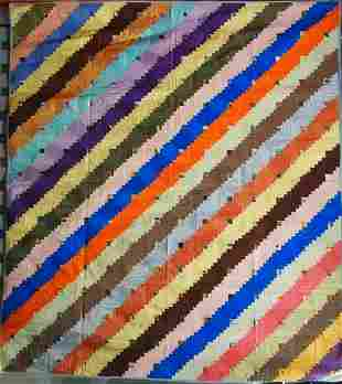 LOG CABIN STRAIGHT FURROW ANTIQUE QUILT PIECED OF