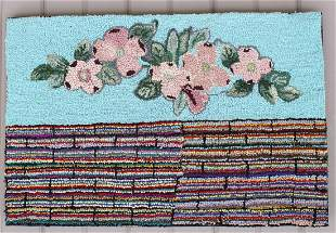 Antique Pink Flowers Hooked Rug