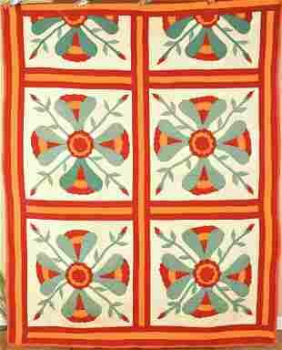 Red, Green & Cheddar Coxcomb Applique Quilt