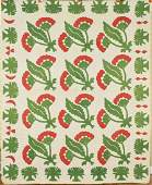 Early Red & Green Coxcomb Quilt with Tree Border