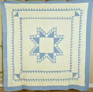 40's Blue & White Feathered Stars Quilt