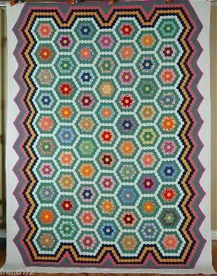 1930's Flower Garden Quilt, Multiple Borders