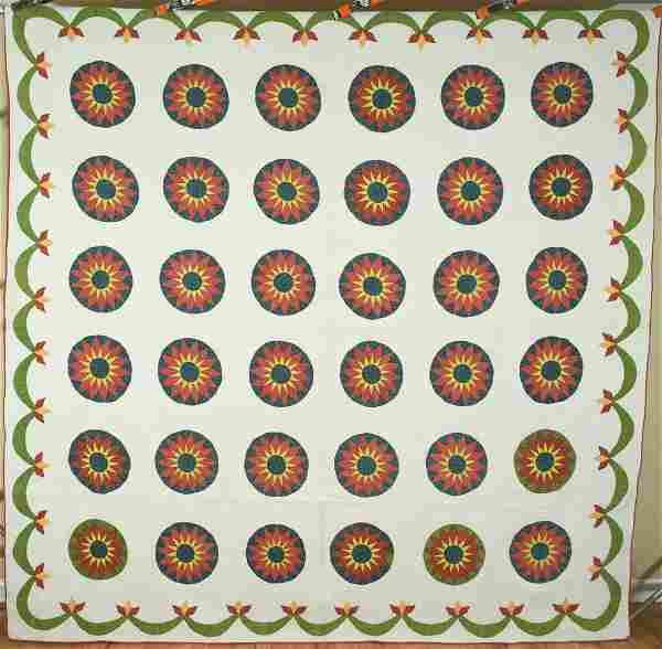 Early Mariner's Compass Quilt, Swag Border
