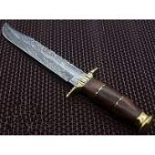 Bowie damascus steel knife handmade walnut wood leather