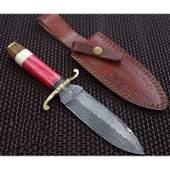 Handmade damascus steel knife hiking rose wood brass