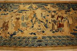 Pre 1900's ANTIQUE CHINESE PICTORIAL RUG of SHOULAO and