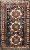 Pre-1900 Antique Kazak Vegetable Dye Oriental Area Rug