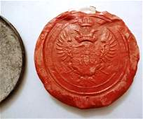 18th C Imperial Seal of Maria Theresa Red Wax