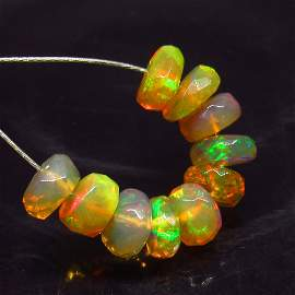 3.16 Ctw Natural 10 Drilled Faceted Fire Opal Beads