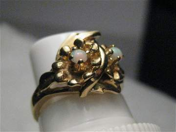 Vintage 14kt Opal Ring, Floral Setting, 1960's, sz.
