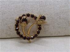 Vintage Gold Rhinestone Circle Brooch, Floral Stem