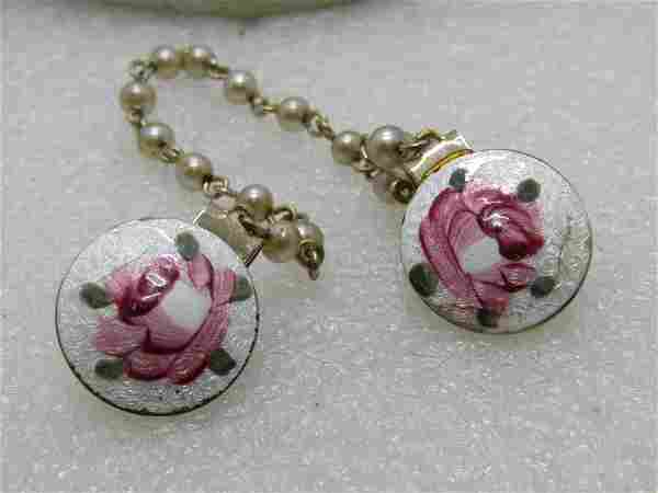 Vintage Guilloche Rose Sweater Clips/Guard, Pink,