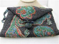 Vintage Glass Beaded Purse with Strap Clutch,