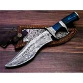 Damascus steel knife hiking camping sheet brass