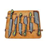 6 pcs SET kitchen chef damascus steel knife colored
