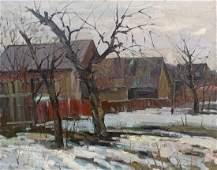 Oil painting Village landscape Peter Tovpev