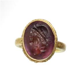 Roman Gold and Amethyst Ring, Head of Zeus