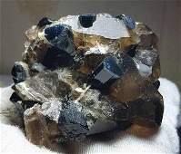 Blue Cap Tourmaline Crystals With Smokey Quartz