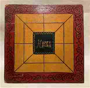 """Early 20thc home made """"HAPPY HOURS"""" gameboard"""