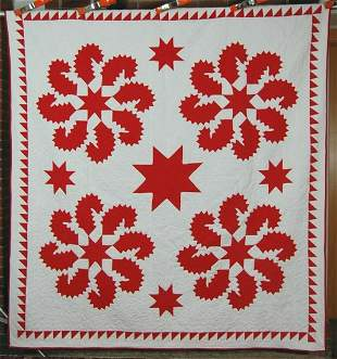 1870's Red & White Princess Feather Stars Quilt