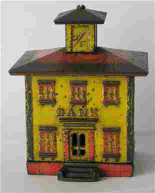 Early cast iron Cupola penny bank.